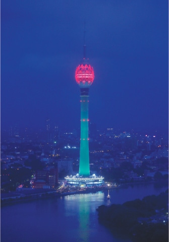 Colombo: The Lotus Tower, the tallest tower in South Asia in shape of a 356-meter lotus and built with Chinese funding, is seen during its launching ceremony on Monday.—Reuters
