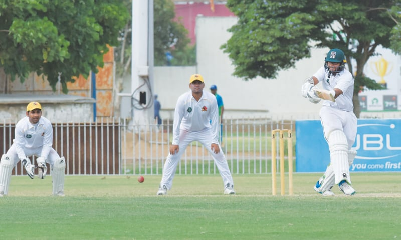 KARACHI: Balochistan opener Imam-ul-Haq plays through the onside during  his unbeaten century against Sindh at the UBL Sports Complex.—Tahir Jamal/White Star