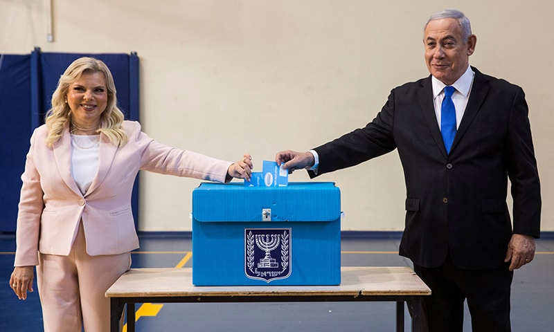 Israeli Prime Minister Benjamin and his wife Sara casts their votes during Israel's parliamentary election at a polling station in Jerusalem on September 17, 2019. — Reuters