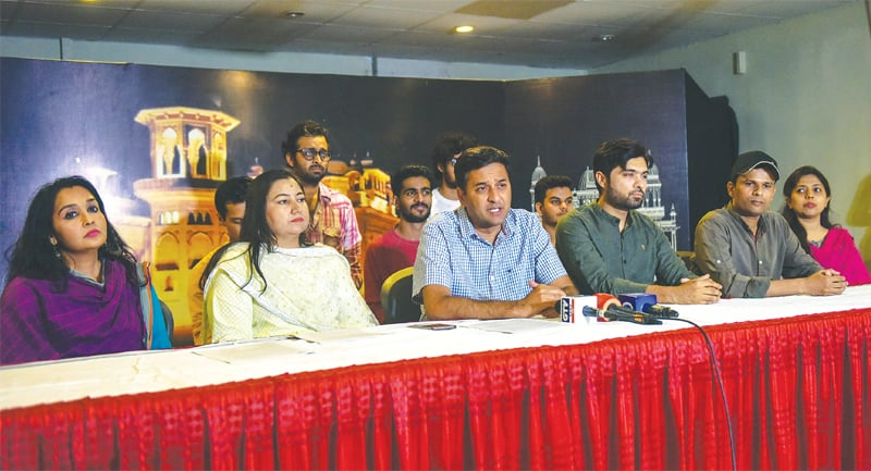 Zain Ahmed speaks at the press conference on Tuesday.—White Star