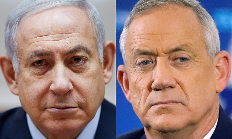This file photo of a combo created on on April 02, 2019 shows Israeli Prime Minister Benjamin Netanyahu (L) attending the weekly cabinet meeting at the Prime Minister's office in Jerusalem on December 9, 2018 and retired Israeli general Benny Gantz, one of the leaders of the Blue and White (Kahol Lavan) political alliance, attending a press conference in Tel Aviv on April 1, 2019. — AFP