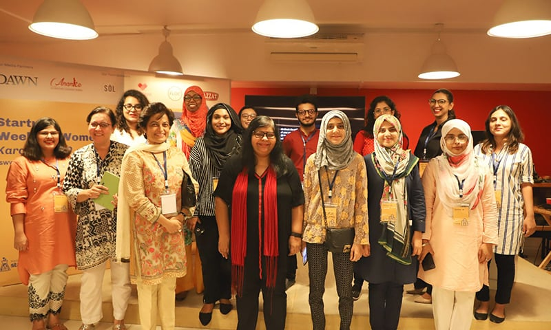 Participants at the event with The Nest I/O founder, Jehan Ara.