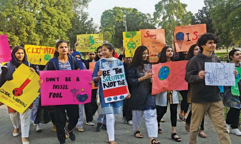 Schoolchildren participate in a demonstration at the Bagh-i-Jinnah to express solidarity with the global Youth Strike 4 Climate protests around the world. — White Star
