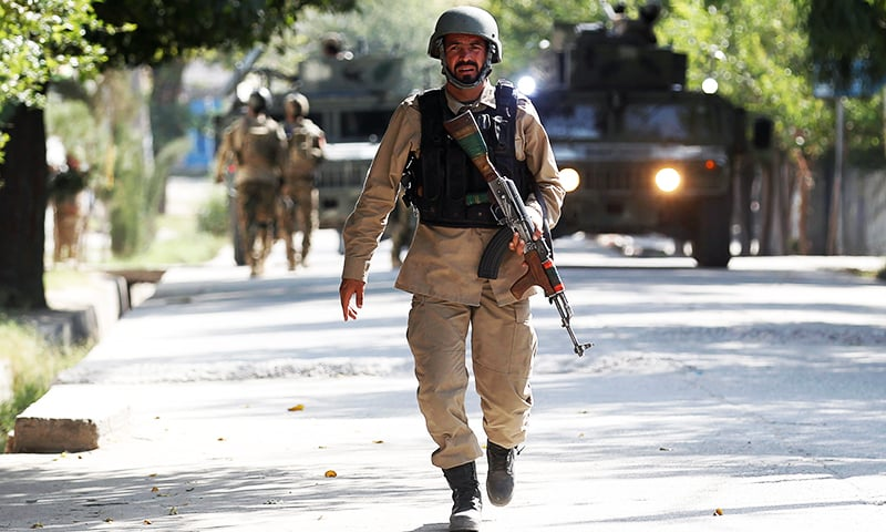 An Afghan security force officer arrives near the site of an attack in Jalalabad city, Afghanistan September 18, 2019. — Reuters