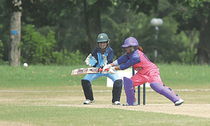 LAHORE: Players in action during the National Triangular One-Day Women Cricket Championship match between PCB Blasters and PCB Dynamites at the Lahore Gymkhana Ground on Wednesday.—courtesy PCB