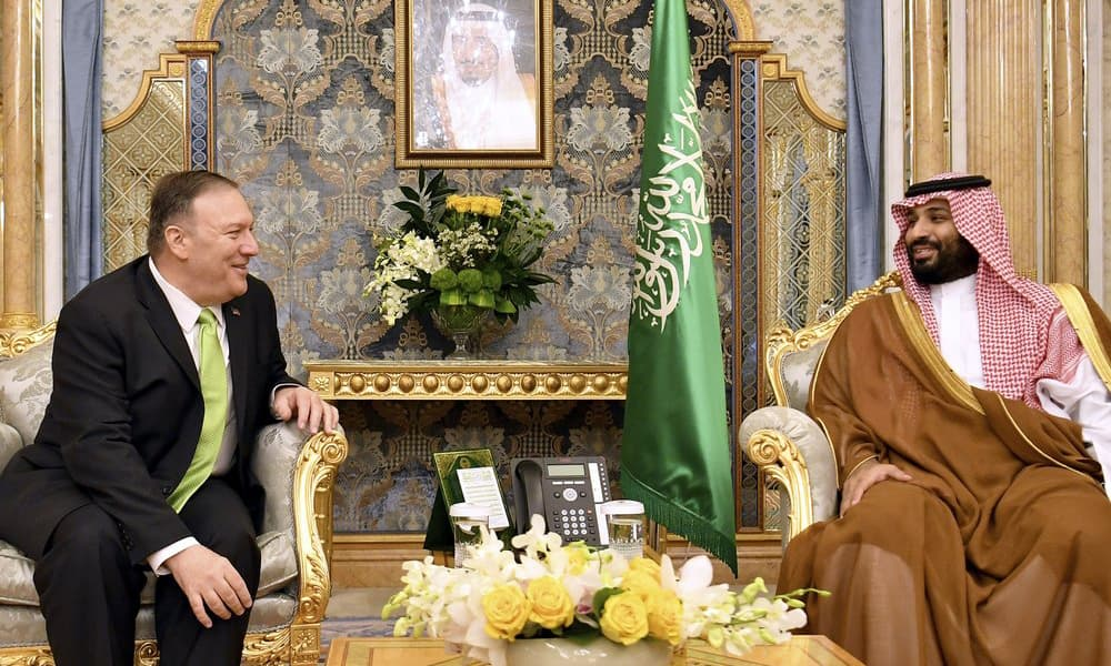 US Secretary of State Mike Pompeo, left, meets with Saudi Arabia's Crown Prince Mohammed bin Salman in Jeddah, Saudi Arabia, on Wednesday. — AP
