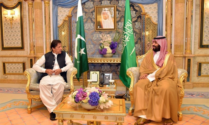 Prime Minister Imran Khan during discussions with Saudi Crown Prince Mohammad bin Salman on Thursday. — PM Office
