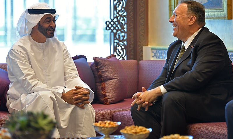 US Secretary of State Mike Pompeo takes part in a meeting with Abu Dhabi Crown Prince Mohammed bin Zayed al-Nahyan in Abu Dhabi, United Arab Emirates on Thursday. — Reuters