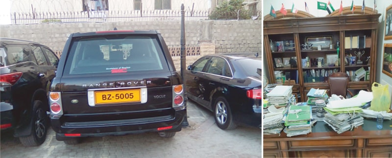 SOME of the luxury vehicles parked at Mr Qaimkhani's residence and (right) a view of his office, from where 'original files' of the KMC have allegedly been recovered.