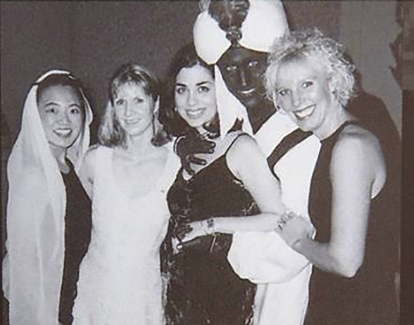 Picture shows Justin Trudeau wearing brown face at a party in 2001.—AFP