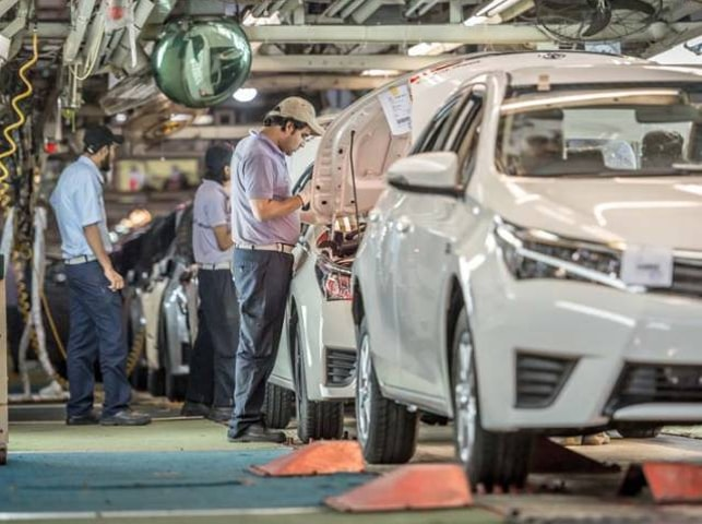 Toyota assembler has decided to scale down production as auto sales declined by 41pc in first two months of the current fiscal year.