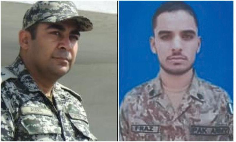 شہید ہونے والے میجر عدیل اور سپاہی فراز کی تصاویر —فوٹو: آئی ایس پی آر