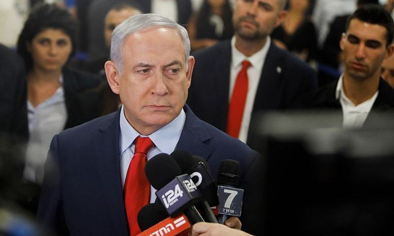 Israeli Prime Minister Benjamin Netanyahu talks to the press on May 29, 2019, at the Knesset. — AFP/File