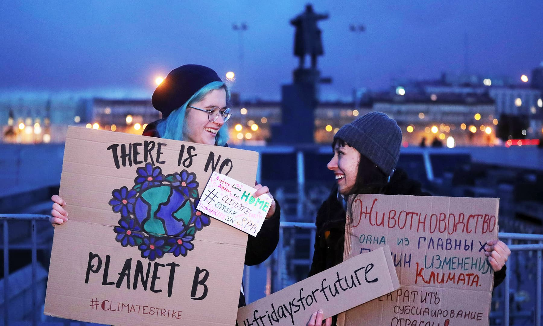 Activists attend an environmental demonstration, part of the Global Climate Strike, in Saint Petersburg, Russia.— Reuters