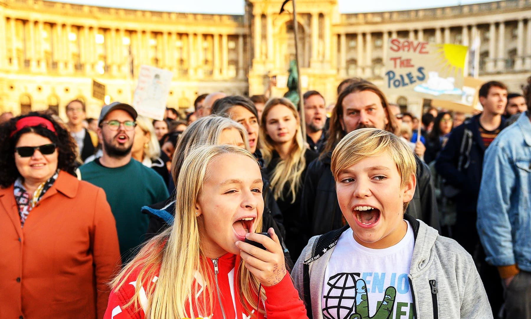 Young people participate in a protest organized by 'Fridays for Future Vienna' at Heldenplatz in Vienna, Austria.— AFP
