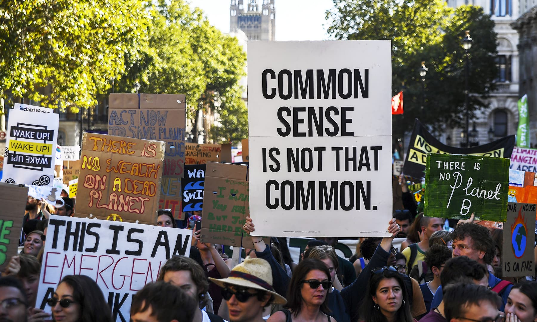 Climate protesters demonstrate in London, Friday, Sept. 20, 2019. — AP