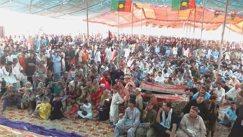 PARTICIPANTS listen to Ghinwa Bhutto and other PPP-SB leaders at Mir Murtaza Bhutto's 23rd death anniversary programme at Garhi Khuda Bakhsh Bhutto on Friday.—Dawn