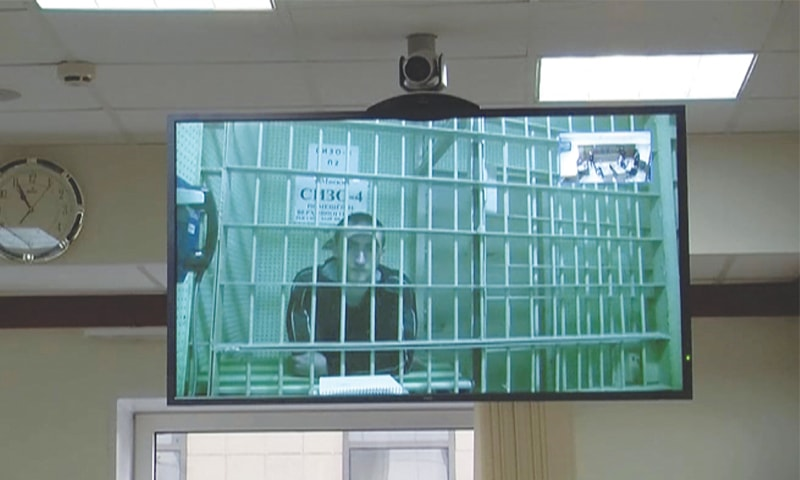 Moscow: A still image, taken from a video footage released by a court, shows actor Pavel Ustinov after he was sentenced to three years in jail for violence against a law enforcement officer at an opposition protest.—Reuters