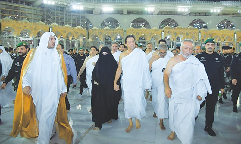 MAKKAH: Prime Minister Imran Khan performs Umrah with his wife Bushra Begum.—APP