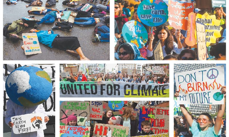 (Clockwise) Activists play dead on a street during a protest at Dharamsala, India, on Friday as part of worldwide rallies calling for action to guard against climate change in the build-up to a UN summit in New York. In Karachi, youths hold placards as they march for a climate strike to protest against government inaction over environmental pollution. Students hold up signs during a march in New York. Schoolchildren shout slogans on a street in Kiev, Ukraine. Activists attend a demonstration in Brussels and a participant wears a globe during the 'health for future' demonstration in Munich.—Age