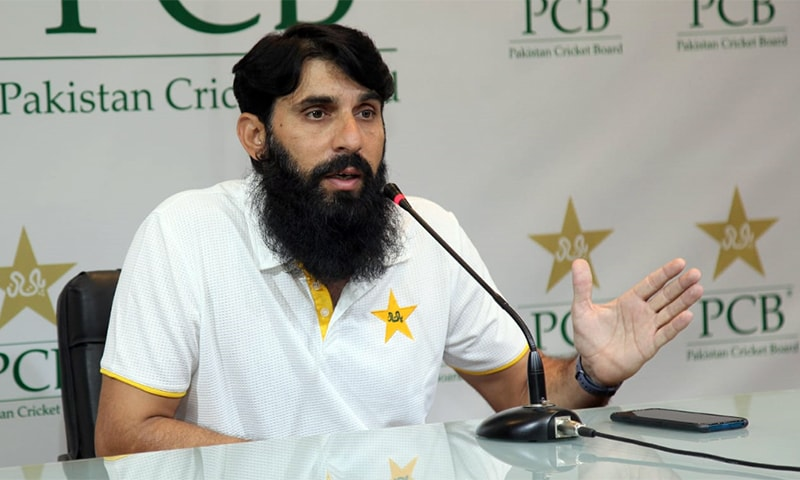 Pakistan cricket team head coach and chief selector Misbahul Haq addressing a press conference in Lahore. — PCB