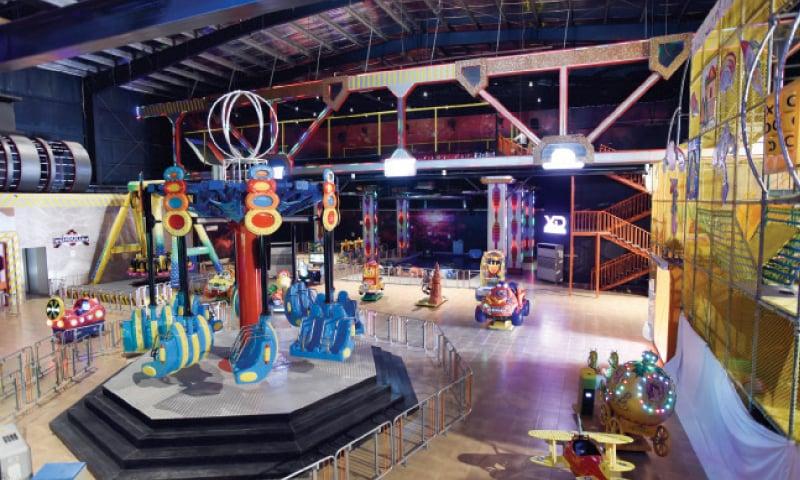 Indoor mechanical swings for children.