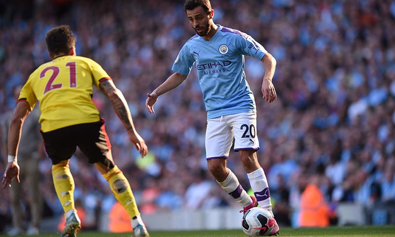 Manchester City's Portuguese midfielder Bernardo Silva controls the ball during the English Premier League football match between Manchester City and Watford at the Etihad Stadium in Manchester, north west England, on September 21. — AFP
