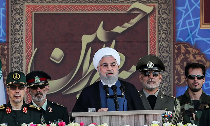 "A handout picture provided by the Iranian presidency on September 22, 2019 shows President Hassan Rouhani giving a speech during the annual ""Sacred Defence Week"" military parade marking the anniversary of the outbreak of the devastating 1980-1988 war with Saddam Hussein's Iraq, in the capital Tehran. — AFP"