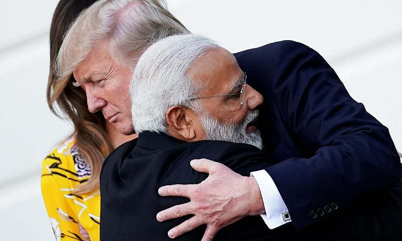 India's Prime Minister Narendra Modi hugs US President Donald Trump as he departs from the White House after a visit in Washington on June 26, 2017. — Reuters/File