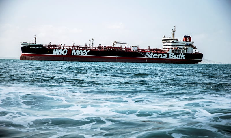 Stena Impero, a British-flagged vessel owned by Stena Bulk, is seen at undisclosed place off the coast of Bandar Abbas, Iran, August 22. — AFP