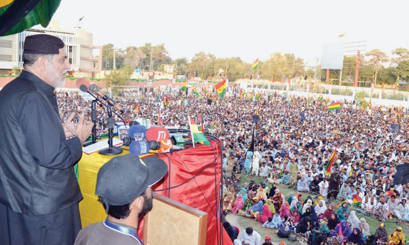 QUETTA: Akhtar Mengal addresses a rally on Sunday.—Online