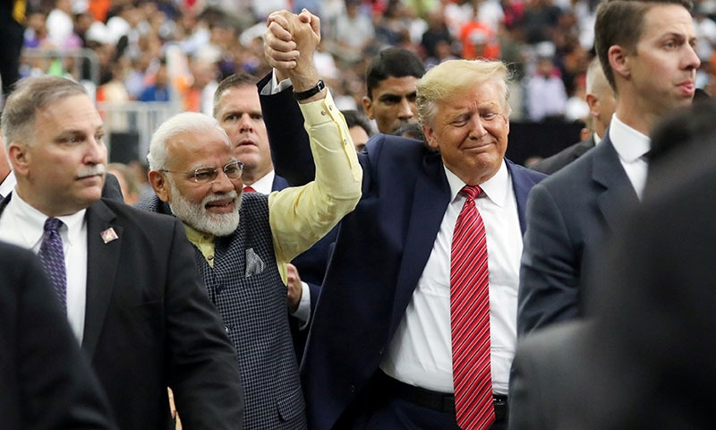 "US President Donald Trump participates in the ""Howdy Modi"" event with India's Prime Minister Narendra Modi in Houston, Texas on September 22. — Reuters"
