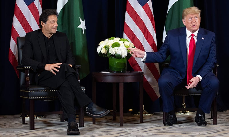 US President Donald Trump (R) and Prime Minister Imran Khan hold a meeting on the sidelines of the UN General Assembly in New York, September 23. — AFP
