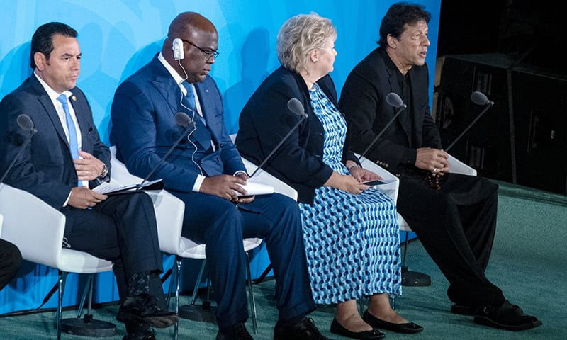 Prime Minister Imran Khan, right, speaks during the Climate Action Summit 2019 at UN headquarters on Monday. From left are Guatemalan President Jimmy Morales, Democratic Republic of Congo President Felix Tshisekedi, Norway's Prime Minister Erna Solberg. — AP