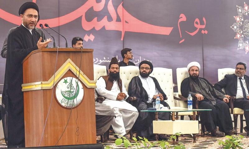ALLAMA Shahenshah Naqvi speaks at the event.—Fahim Siddiqi/White Star