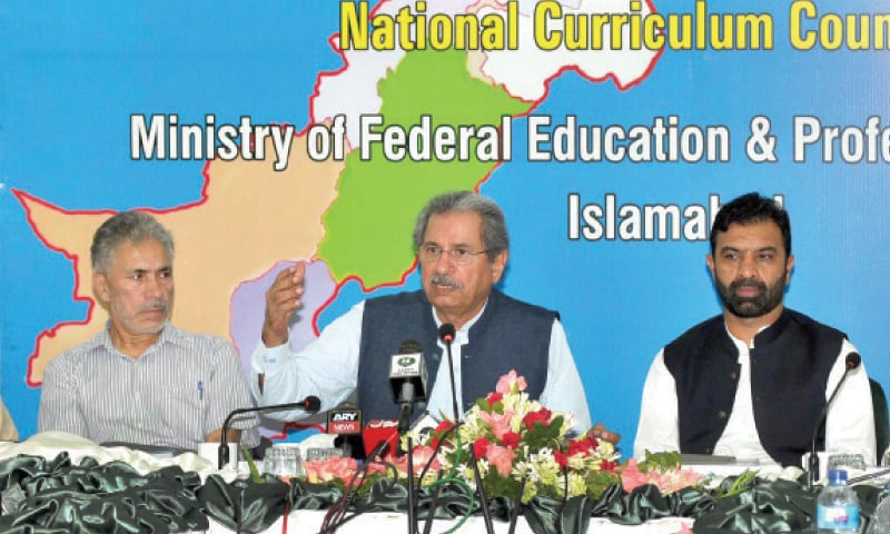 Education Minister Shafqat Mahmood speaks at a press conference in Islamabad on Monday. — APP