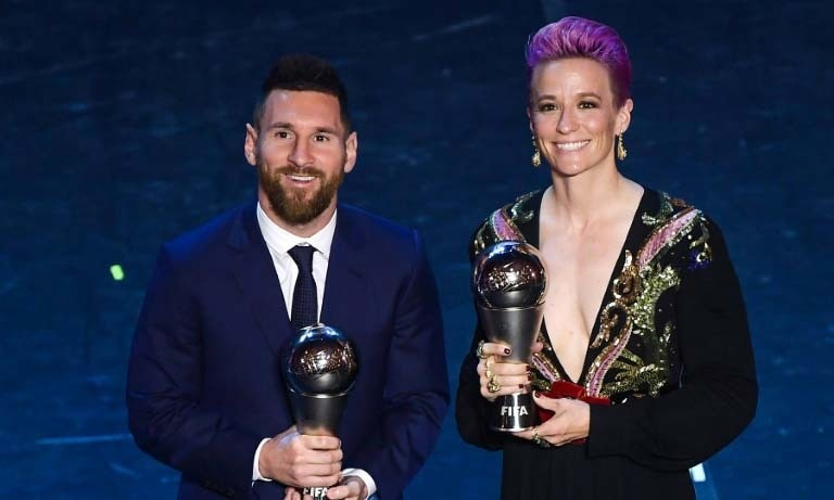 Messi wins FIFA player of the year for the sixth time as Ronaldo skips ceremony