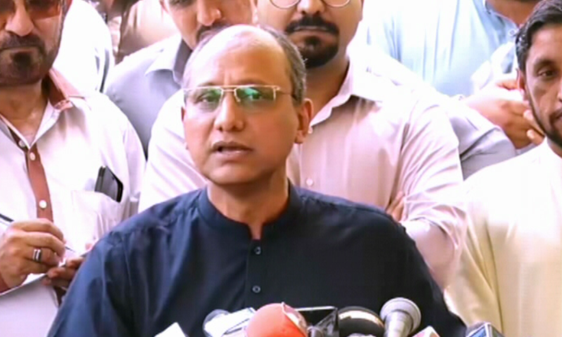 Sindh Information Minister Saeed Ghani speaks to media in Karachi. — DawnNewsTV