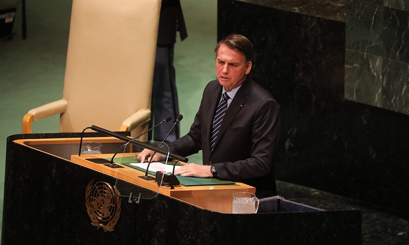 Jair Bolsonaro, President of Brazil speaks at the 74th session of the United Nations General Assembly on September 24. — AFP
