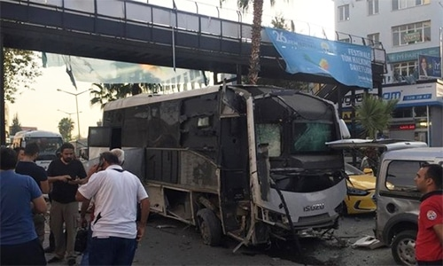 Footage showed a badly damaged bus surrounded by debris and other damaged vehicles under a pedestrian overpass in the area of Yuregir in Adana. — Photo courtesy Daily Sabah