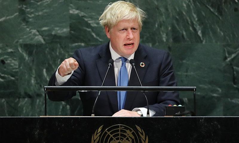 British Prime Minister Boris Johnson speaks at the 74th United Nations General Assembly on September 24 in New York City. — Spencer Platt/Getty Images/AFP