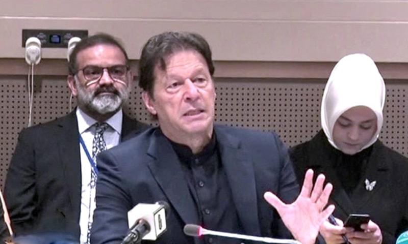 Prime Minister Imran Khan addressing the roundtable on hate speech in New York on Wednesday. — DawnNewsTV