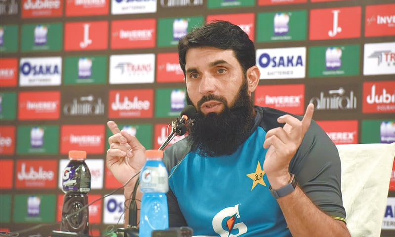 PAKISTAN head coach-cum-chief selector Misbah-ul-Haq gestures during a news conference at the National Stadium on Wednesday.—Tahir Jamal/White Star