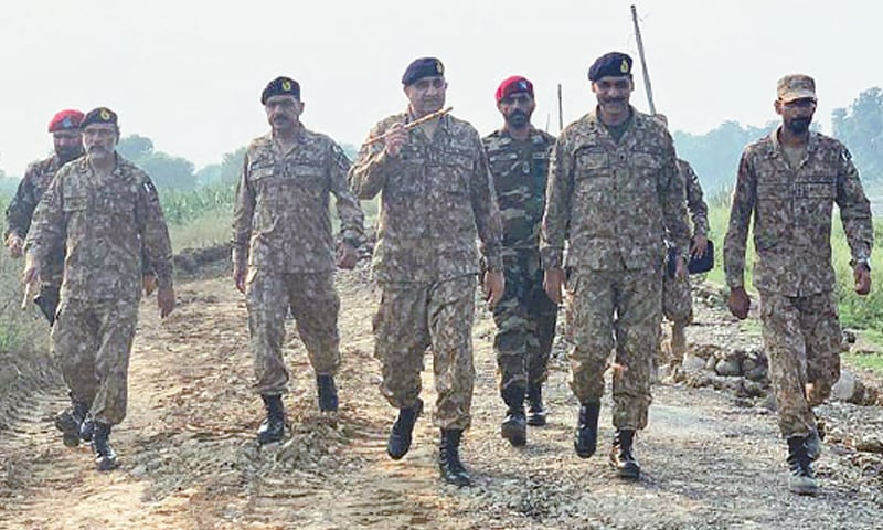 Chief of the Army Staff General Qamar Javed Bajwa visits an earthquake-affected area of Azad Jammu and Kashmir on Wednesday.—Online