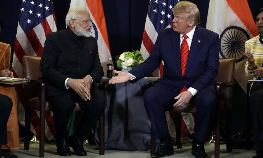امریکی صدر نے اقوام متحدہ کے جنرل اسمبلی کے اجلاس کی سائیڈ لائنز میں بھارتی وزیراعظم سے ملاقات کی — فائل فوٹو/اے پی