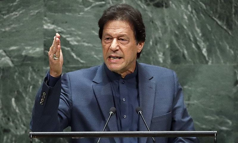 Prime Minister Imran Khan addresses the United Nations General Assembly at UN headquarters on Friday in New York City. — AFP