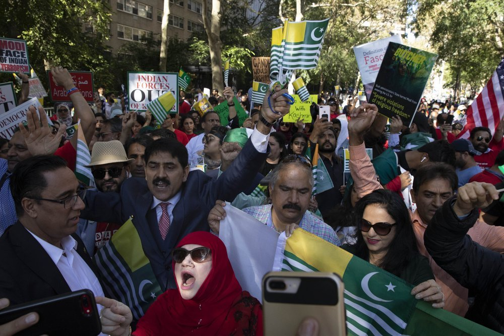 People protest outside the United Nations in New York on Friday against Indian Prime Minister Narendra Modi's annexation of occupied Kashmir and occupation of Punjab. — AP