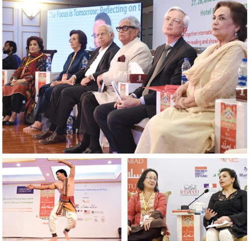 Clockwise from top: (L-R) Writer Haseena Moin, Muneeza Shamsie, Ikram Sehgal, Iftikhar Arif, French Ambassador Dr Marc Barety and Naveed Shahzad sit on stage during the opening ceremony of the Islamabad Literature Festival, Samia Liaquat Ali Khan speaks during the launch of the book, The Begum: A Portrait of Ra'ana Liaquat Ali Khan. Tahmina Aziz is also seen, Iftikhar Masih performs a classical dance at the festival on Friday. — White Star
