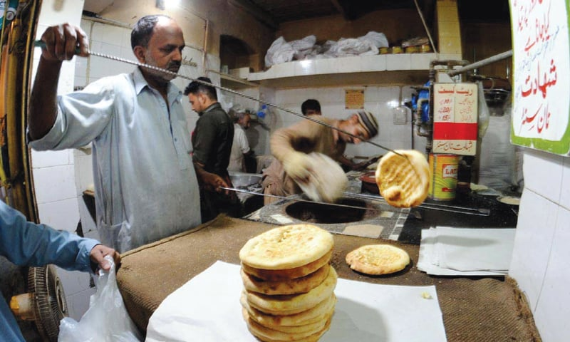 In this file photo, freshly baked naans are seen at a tandoor. The government has announced Rs1.5 billion subsidy in the shape of lower gas tariff for roti tandoors so that the food item is available at cheaper rates.