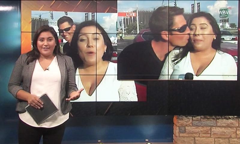 براہ راست نشریات کے دوران خاتون رپورٹر کو بوسہ دینے والے کے خلاف مقدمہ دائر
